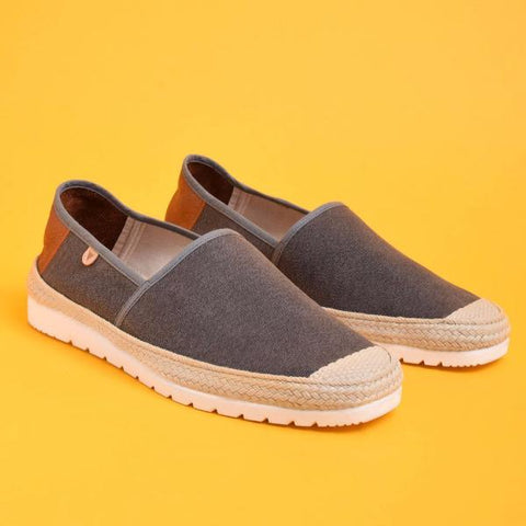 Barrie Canvas Jute Wrapped Slip On: Grey