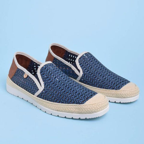 Blade Woven Leather Loafers: Navy