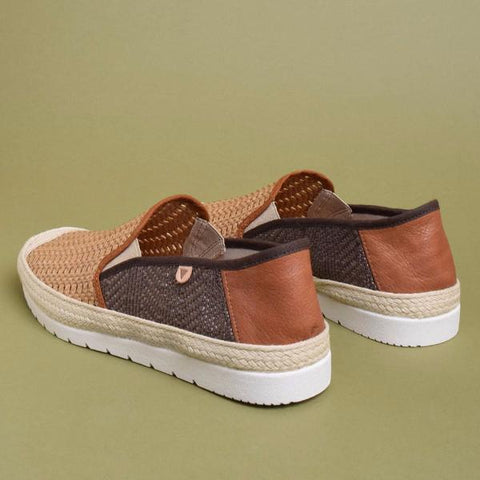 Blade Woven Leather Loafers: Beige & Brown