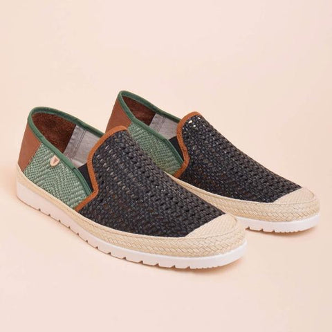 Blade Woven Leather Loafers: Black & Green