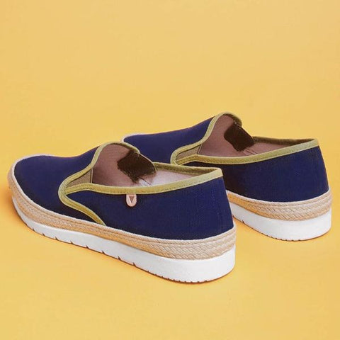 Boris Paris Canvas Slip On: Navy & Khaki