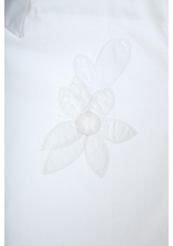 "Embroidered ""Flower"" Shirt: White"