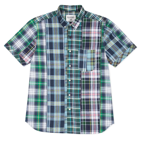 Don Patchwork Shirt S/S: Green/Navy