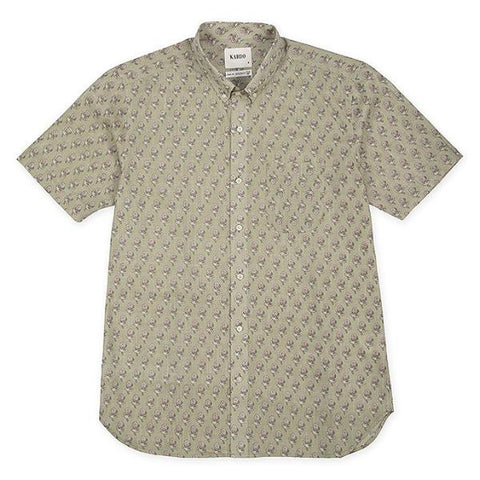 Don S/S Shirt: Tan w Flowers