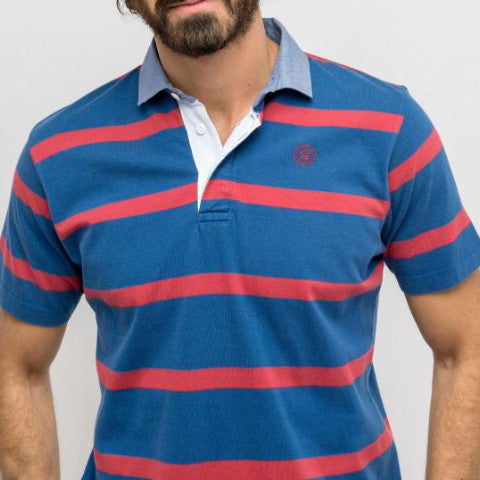 Striped Jersey Polo: Burgundy/Navy