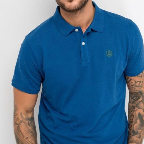 Stretch Pique Polo: Indigo