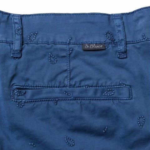Stretch Gabardine Embroidered Bermuda Shorts: Indigo