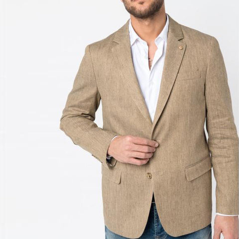 "Cotton And Linen Jacket ""Sutton"": Camel"