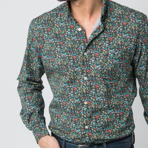 Micro Flowers Print Shirt: Navy