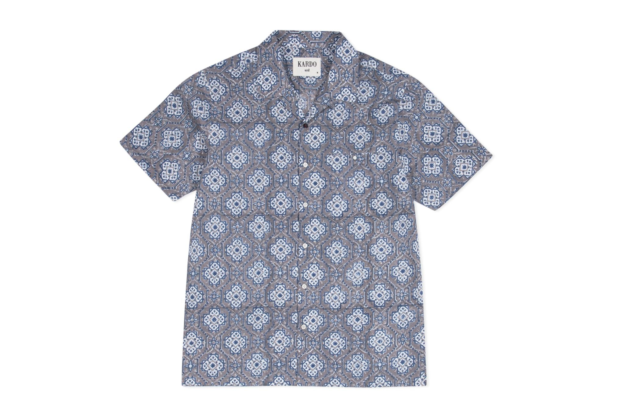 Kendrick Patterned Shirt S/S: Grey
