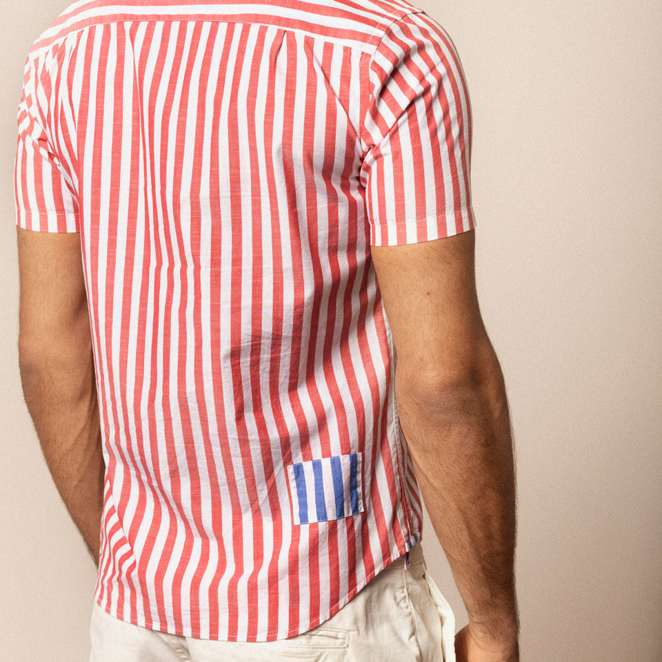 Poplin Stripe Shirt S/S: Red