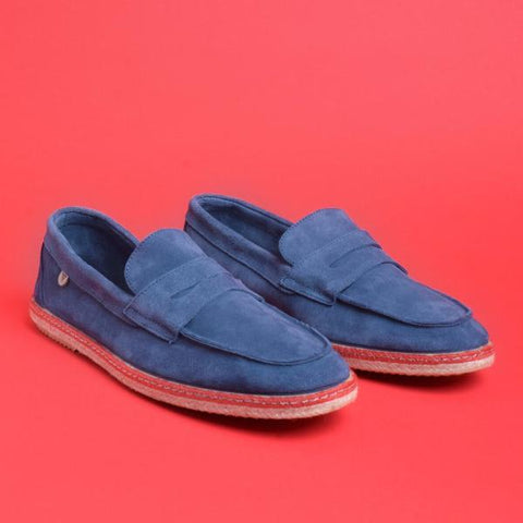 Tirson Suede Penny Loafers: Blue