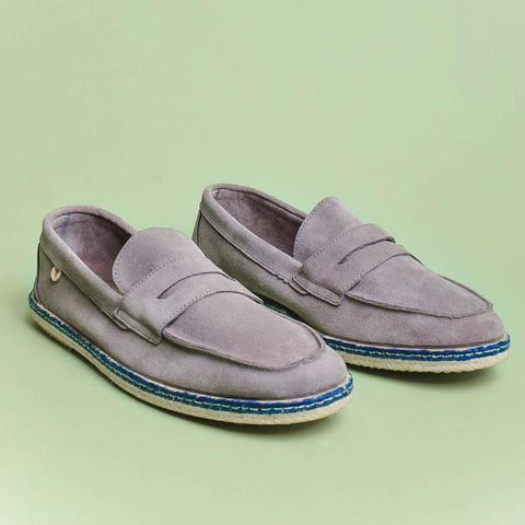 Tirson Suede Penny Loafers: Grey