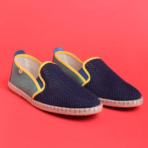 Tito Mesh Jute Wrapped Slip On: Navy & Green