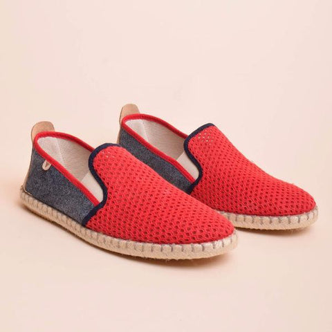 Tito Mesh Jute Wrapped Slip On: Red & Navy