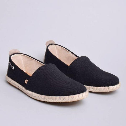 Travis Canvas Jute Wrapped Slip On: Black
