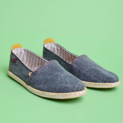 Travis Canvas Jute Wrapped Slip On: Navy