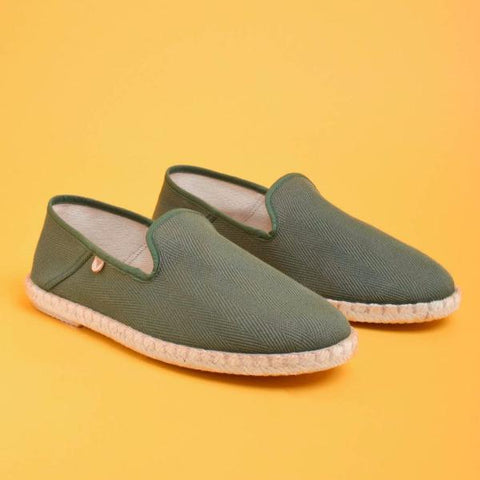 Trevor Chevron Canvas Slip On: Green