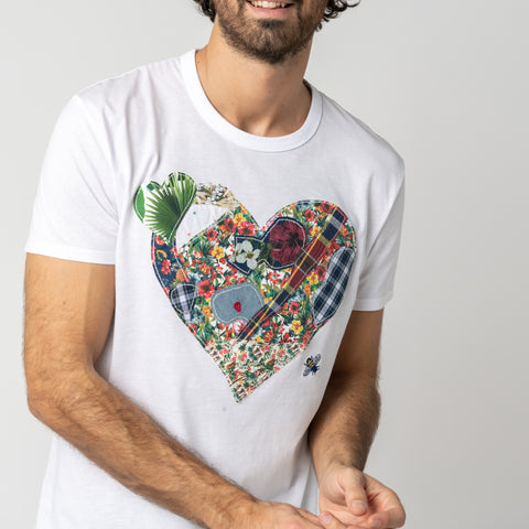 Patchwork Heart T-shirt: Gray