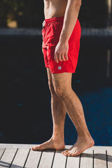 Maui Solid Swim Short: Red