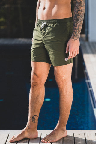 Maui Solid Swim Short: Army