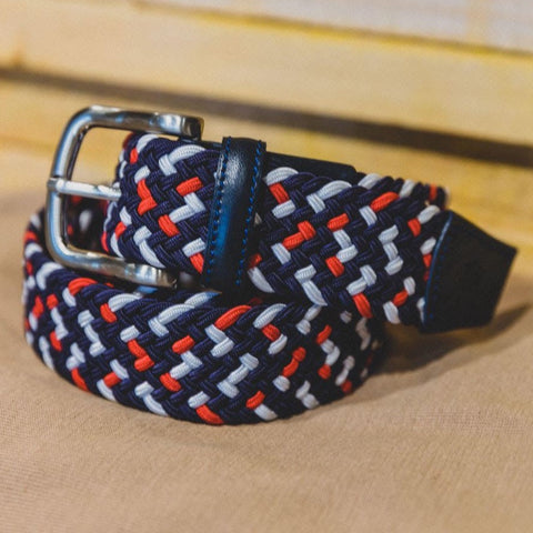 Leather/Canvas Belt: Navy