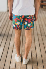 Bermuda Short Tropical Print: Navy