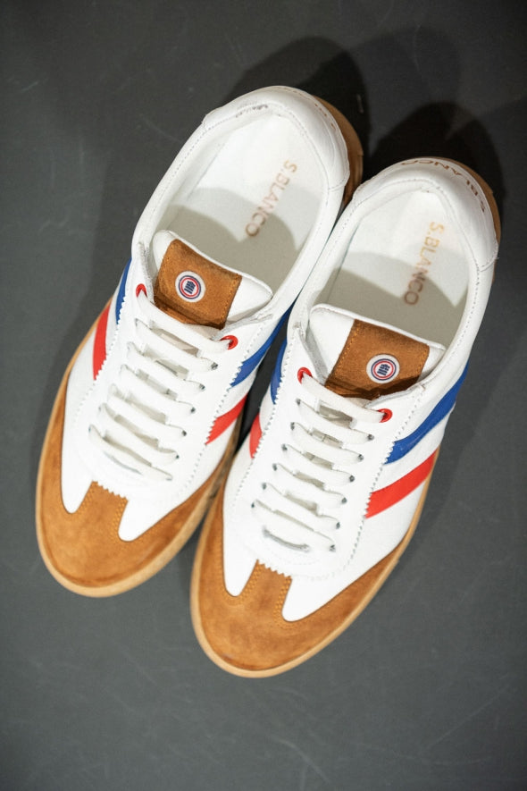 Leather/Suede Tri-Color Sneakers: White