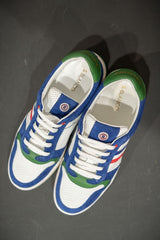 Retro Tri-Color Sneakers: White/Blue