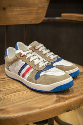 Retro Tri-Color Sneakers: White/Ecru