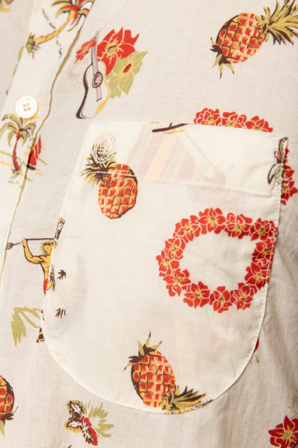 Poplin Island Pattern Shirt S/S: Off White