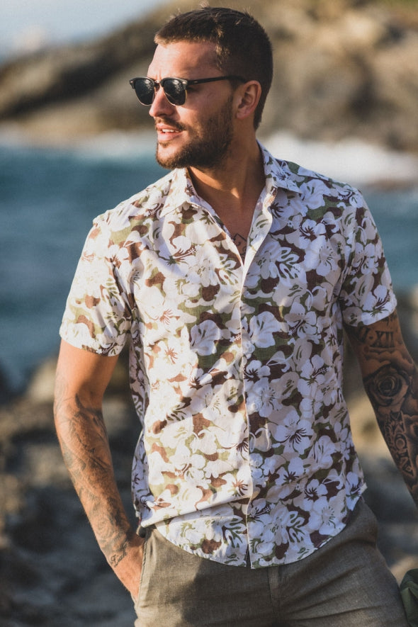 Poplin Hawaiian Camo Shirt S/S: White/Army