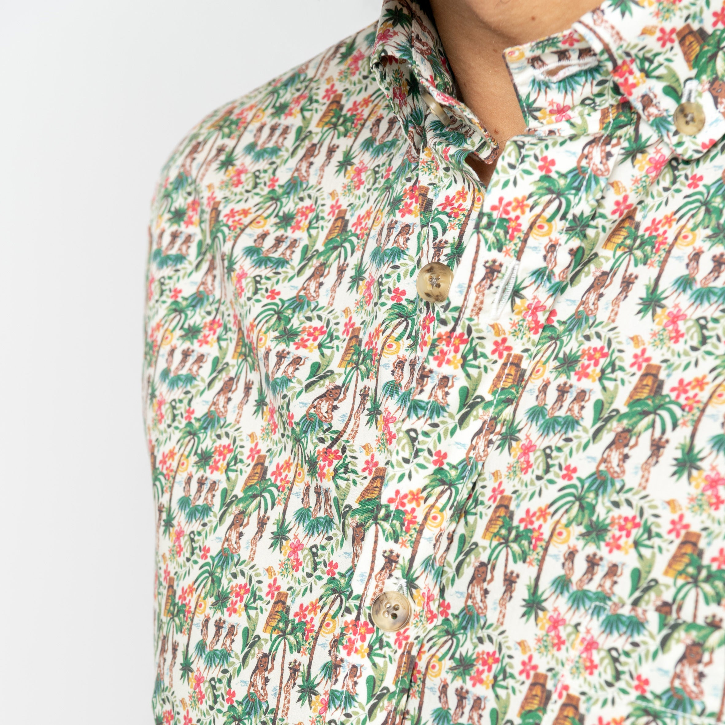 Embellished Fabric S/S Shirt: Lychee