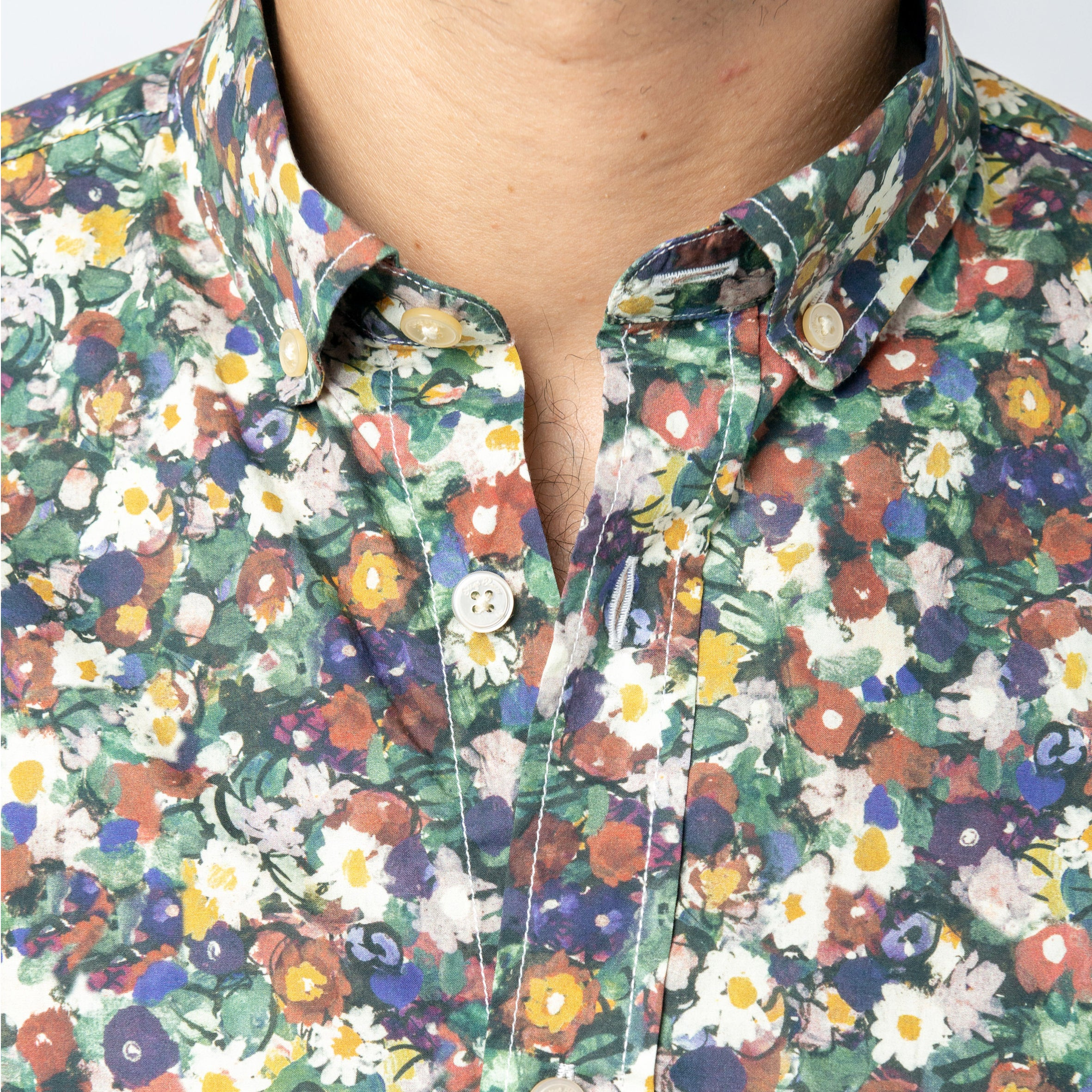 Floral Pattern SS Shirt: Spinach