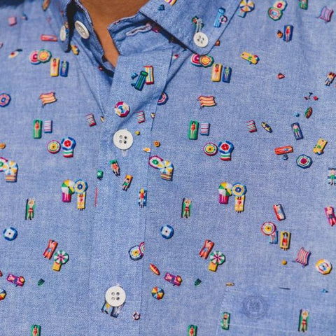 Poplin Summer Theme Shirt S/S: Blue