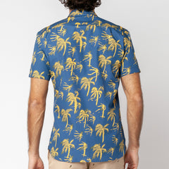 Yellow Palm Print S/S Shirt: Ink
