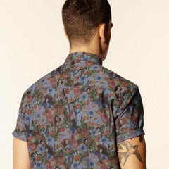 Pin-Up Print Shirt S/S: Chambray