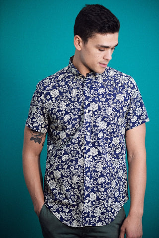Floral Comfort Fit Shirt S/S: Marine