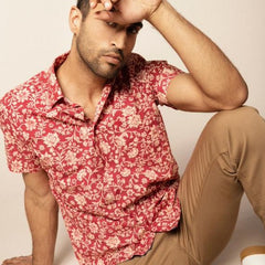 Floral Comfort Fit Shirt S/S: Red