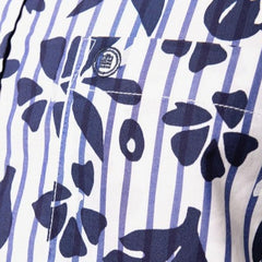 Striped with Flower Print Shirt L/S: Blue