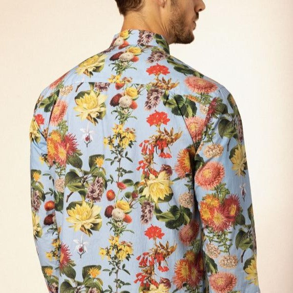 Botanical Poplin Shirt L/S: Lt Blue