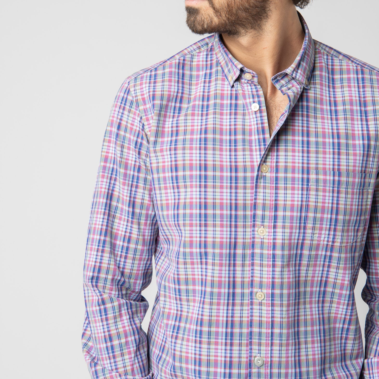 Blue Violet Plaid Shirt