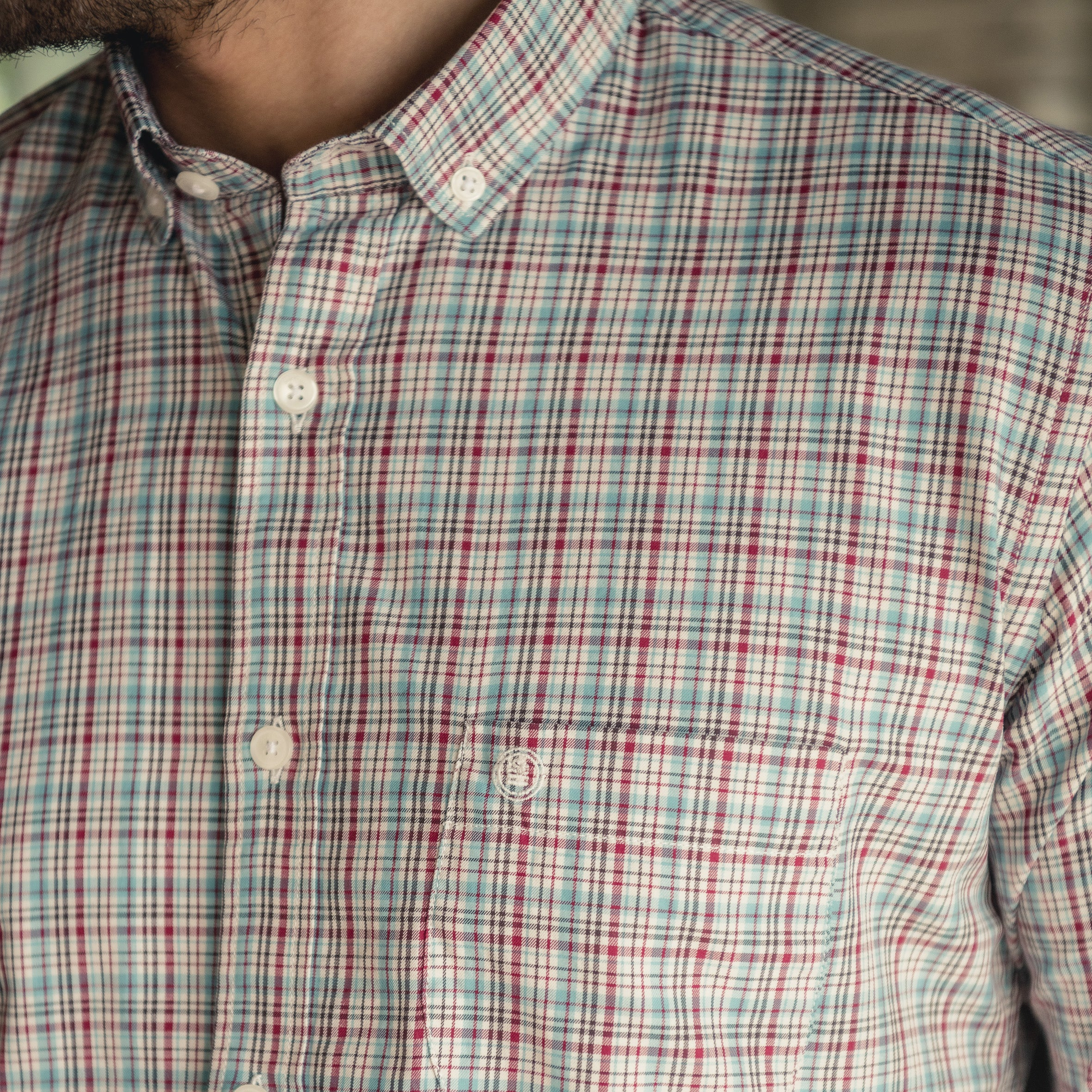 Plaid Shirt L/S: Green/Maroon