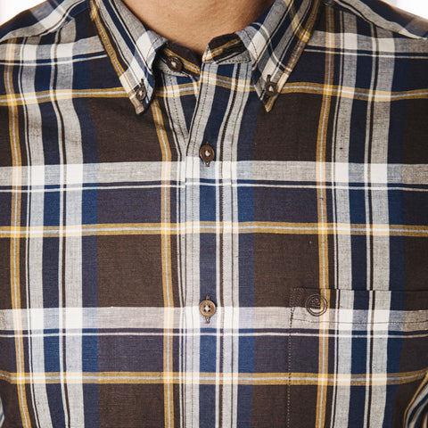 Blended Linen Checked Shirt L/S: Maroon