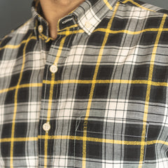 Checked Shirt L/S: Black/Yellow/White