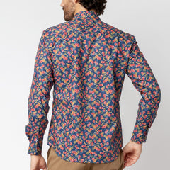 Pineapple Hibiscus Shirt: Navy