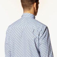 Graphic Print Poplin Shirt L/S: Blue