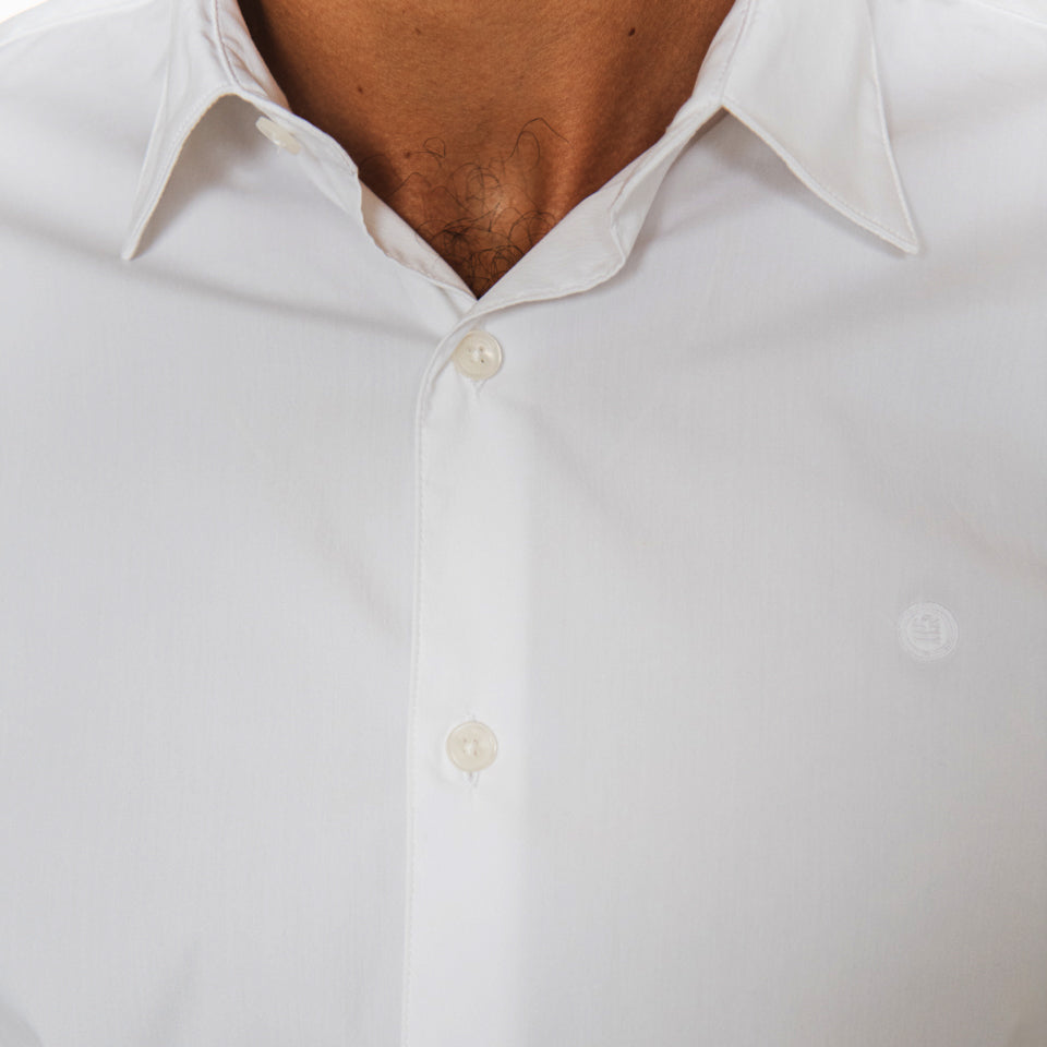 White Poplin Stretch Shirt L/S: 001 White