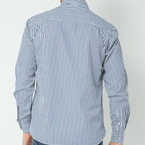 Striped Shirt with Embroidered Owl: Marine