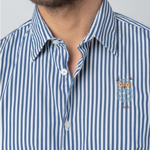Striped Shirt With Embroidered Owl - Marine